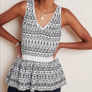Anthro Maeve Cammie Embroidered Peplum Top